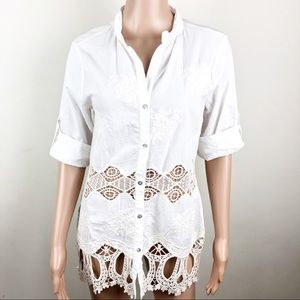 New! Dylan Embroidered Button Down Tunic Shirt XS